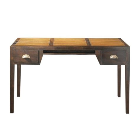 stained solid teak desk w 130cm bamboo maisons du monde