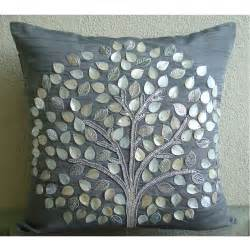 luxury grey throw pillow covers 16x16 silk