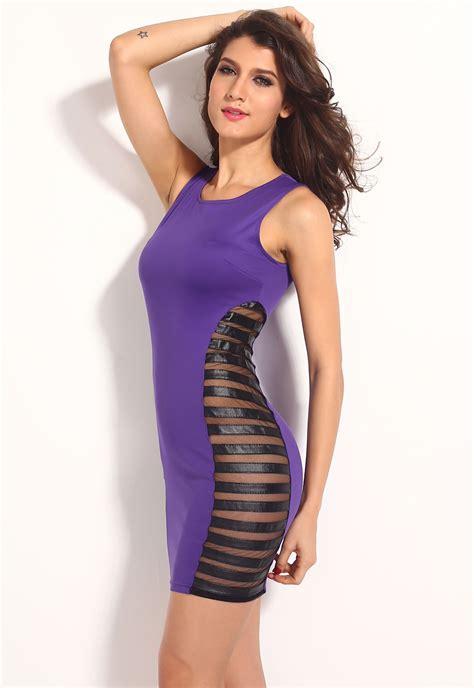 Dress Bodycon Stripe Blue Purple Reqame black club tank bodycon dress with side striped mesh summer autumn ebay