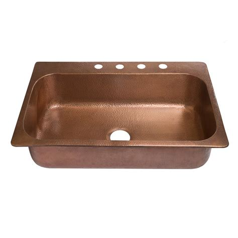Drop In Copper Kitchen Sinks Sinkology Angelico Drop In Handmade Copper 33 In 4 Single Bowl Copper Kitchen Sink In
