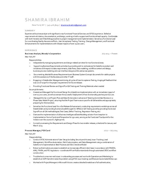 Ba Resume Sles salesforce business analyst resume