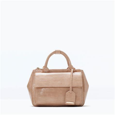 On Sale Tas Wanita Zara City Bag zara croc mini city bag in beige lyst
