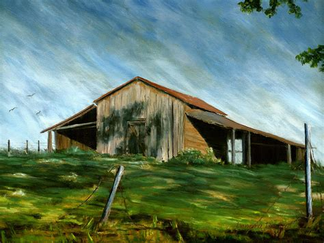 barn landscape pleasant hill louisiana painting by