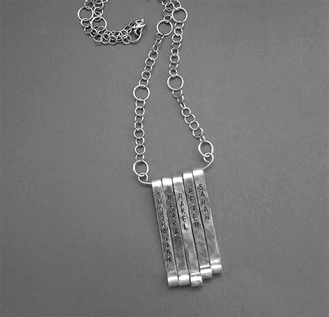 vertical bars personalized pendant necklace