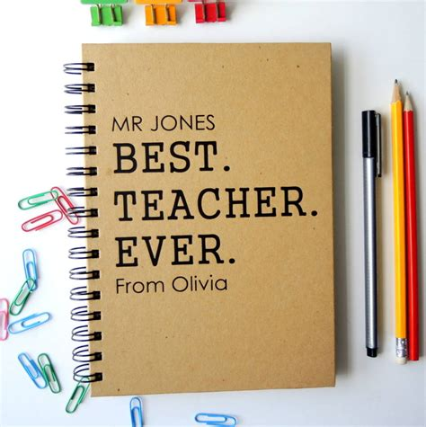 personalised teacher notebook by the alphabet gift shop
