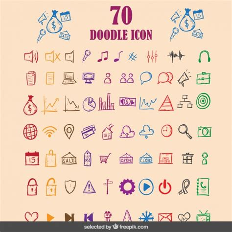 how to edit a doodle doodle colorful icons collection vector free