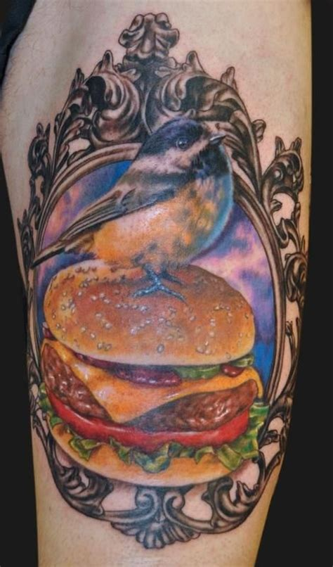 hamburger tattoo hamburger and bird food tattoomagz