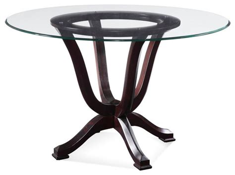 intrigue transitional round glass top table chairs bassett mirror serenity round glass pedestal dining table