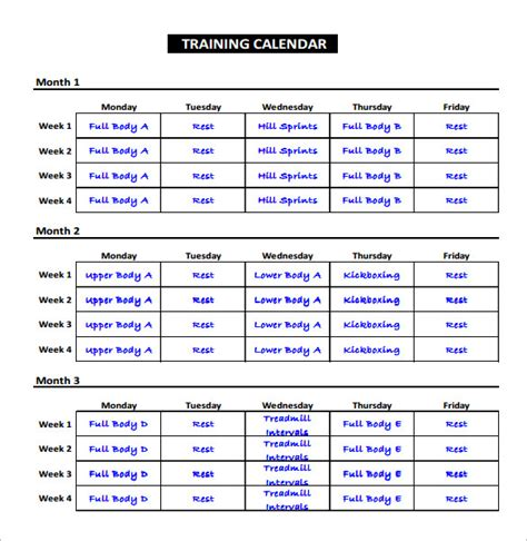 workout calendar template exercise schedule template 7 free word excel pdf