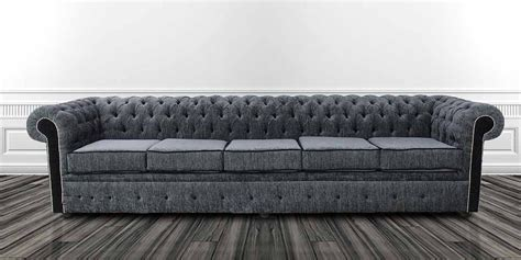Fabric Chesterfield Sofa Uk Chesterfield 5 Seater Settee Carlton Charcoal And Black Fabric Sofa Offer Designersofas4u