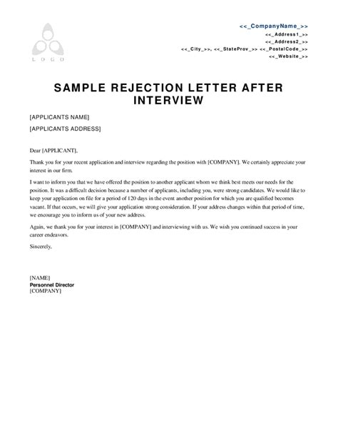 Decline Candidate Letter Sle rejection letter template 28 images rejection letter