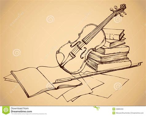 melodic stick books vector sketch violin on books stock vector image