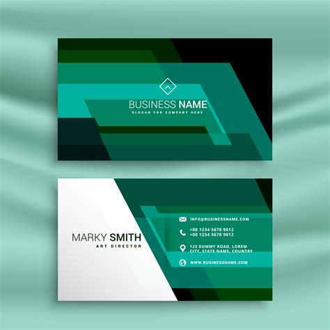 Green Business Card Template Vector by Abstract Green Business Card Design Template