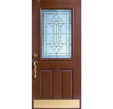 single door brown wooden single door with golden handler also glass on