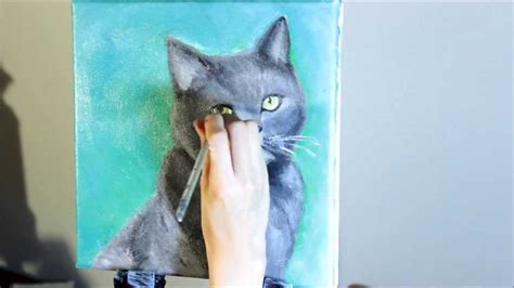 paint a cat acrylic speed painting cat furby
