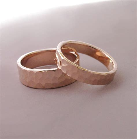 Hochzeitsringe Rosegold by 14k Gold Wedding Rings Hammered Recycled Gold 4 And 6