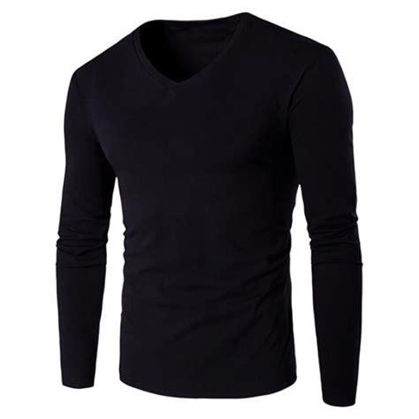 Sleeve V Neck Plain T Shirt v neck sleeve plain t shirt in black twinkledeals