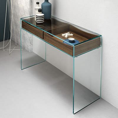 Table With Lamp Built In by Gulliver Glass Console Table With Walnut Drawers
