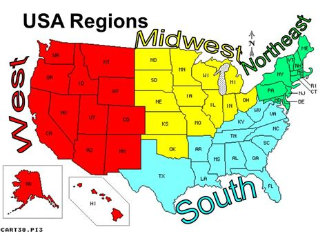 us map divided south east west united states geography ppt