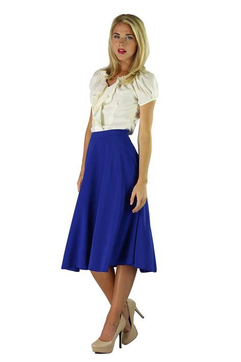 modest midi skirts in cobalt blue