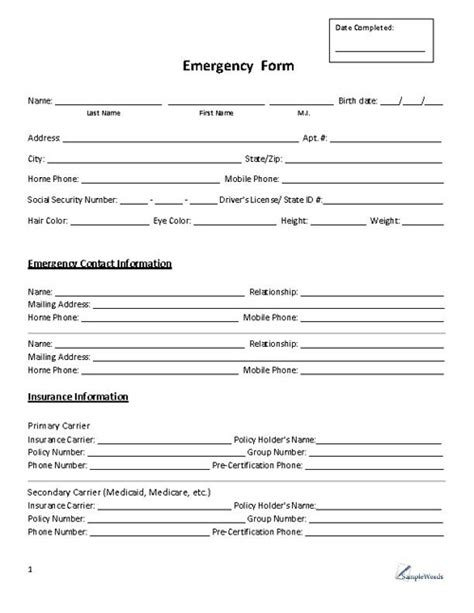 Emergency Form Contact In Of Emergency Form Template
