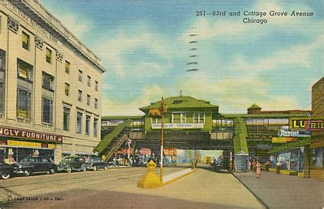 postcard chicago 63rd and cottage grove looking elevated furniture store