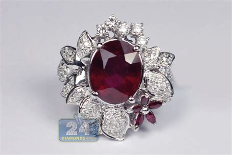 Ruby 8 55ct womens ruby flower gemstone ring 18k white gold 8 55ct