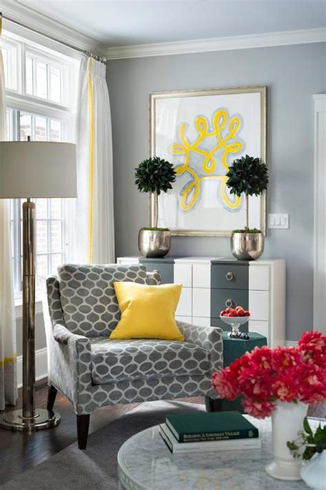 gray corner reading chair  canary yellow pillow