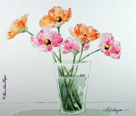easy watercolor paintings flowers watercolor paintings by roseann hayes cosmos watercolor