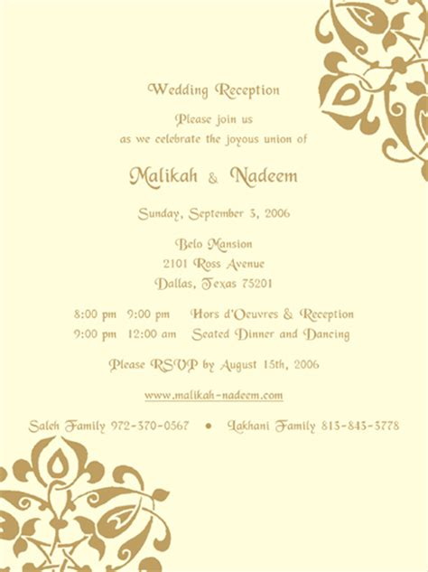 reception invitation card templates reception sles reception printed text reception