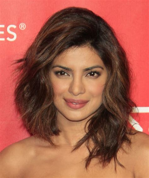 Priyanka Chopra Hairstyles by Priyanka Chopra Medium Wavy Casual Hairstyle Medium