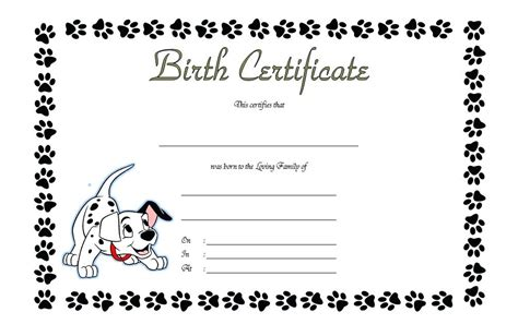 birth certificate template free pet birth certificate template free word puppy