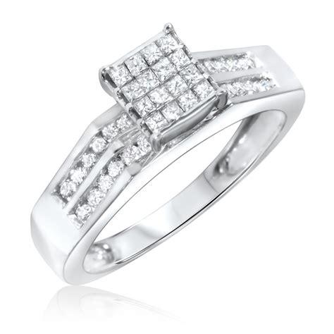 3 8 carat t w s engagement ring 10k white