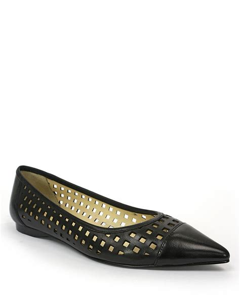 tahari shoes flats tahari ethel leather laser cut flats in black lyst