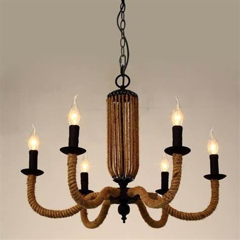Decorative Chandelier Retro Decor Chandelier American Country Rh Loft Light Candles 6 Heads Iron Hemp Rope Pendant