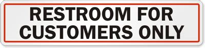 bathroom for customers only sign glass door signs labels