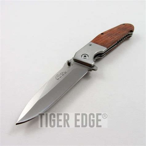 wooden folding knife assist folding pocket knife wooden handle switch tactical opening 300376