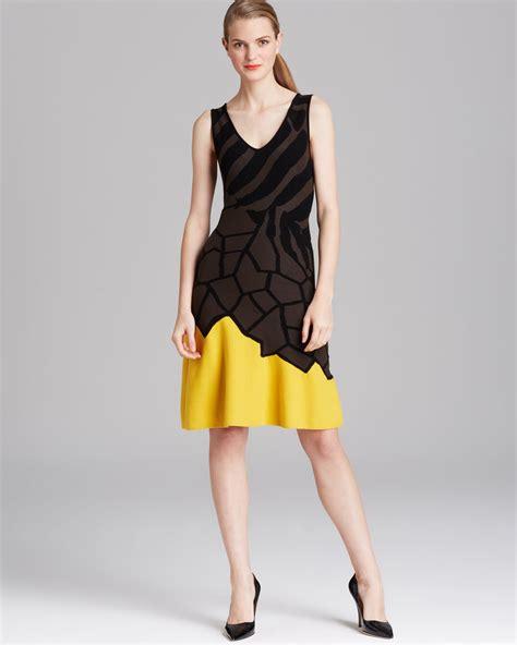 Pattern For Color Block Dress | escada dress animal pattern color block in brown mocha