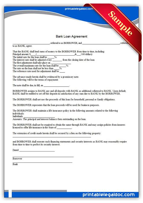 Agreement Letter For Bank Free Printable Bank Loan Agreement Form Generic