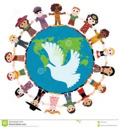 children holding hands around the world clipart