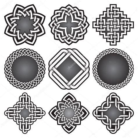 cornici celtiche conjunto de plantillas de logotipo estilo de nudos celtas