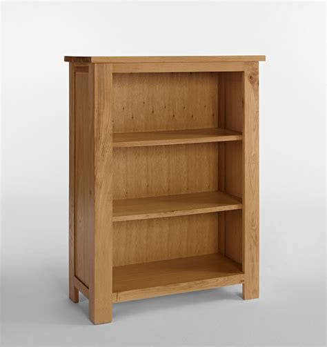 Lansdown Oak Narrow Low Bookcase with 2 shelves