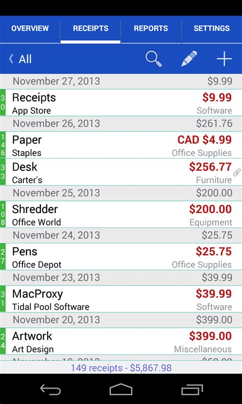receipts android evernote app center