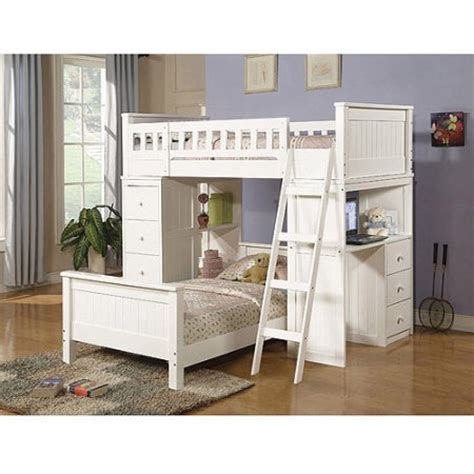 walmart loft bed with desk white willoughby twin over twin wood bunk bed with desk