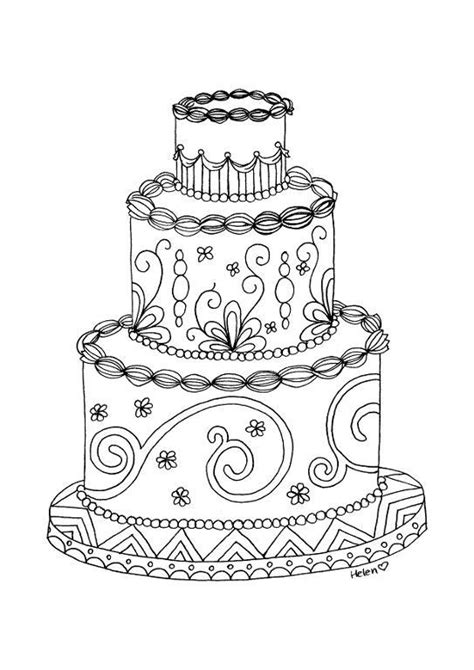 coloring pages wedding cakes wedding cake adult coloring page by helenscraft craftsy