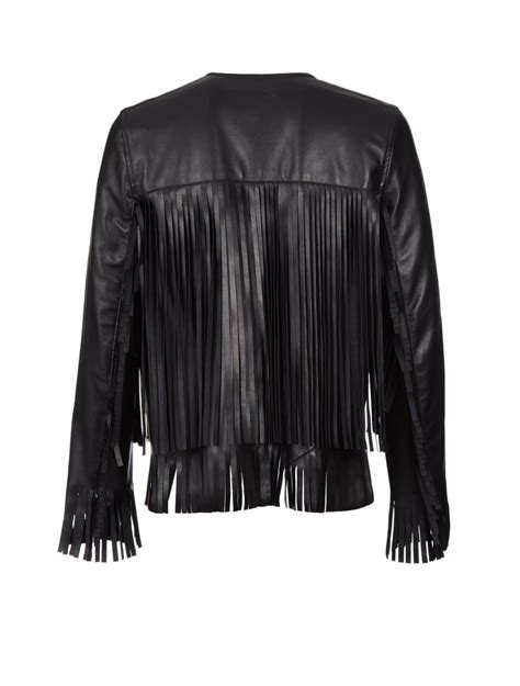 black leather jacket with fringe the perfext leather fringe april jacket in black lyst