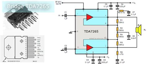tda7265 lifier circuit diagram btl power lifier circuit using ic tda7265 electronic