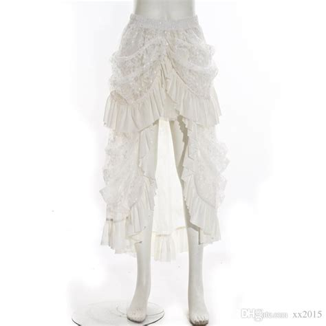 lace ivory victorian bustle skirt best wholesale long gothic steunk skirt ivory vtg