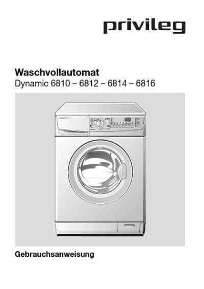 Kühlschrank Steht Wasser by Privileg Dynamic 6810waschmaschinen Handbuch In
