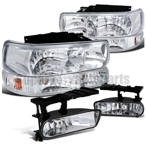 1999 2002 chevy silverado headlights chrome bumper ls clear fog light 6pc kit ebay